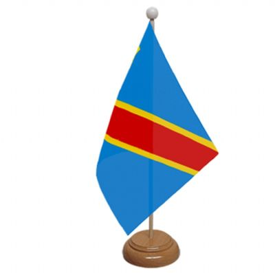 CONGO DR 2006 - TABLE FLAG WITH WOODEN BASE